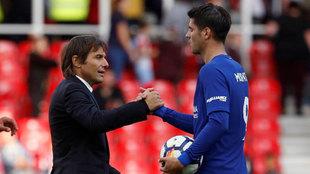 Conte felicita a Morata en su último partido