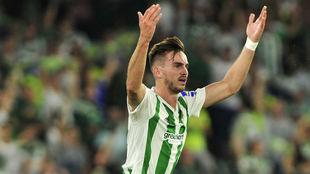 Fabián celebra su gol al Levante.
