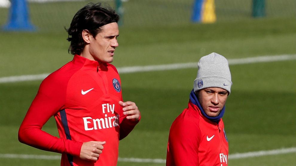 Neymar y Cavani, en un entrenamiento reciente del PSG.