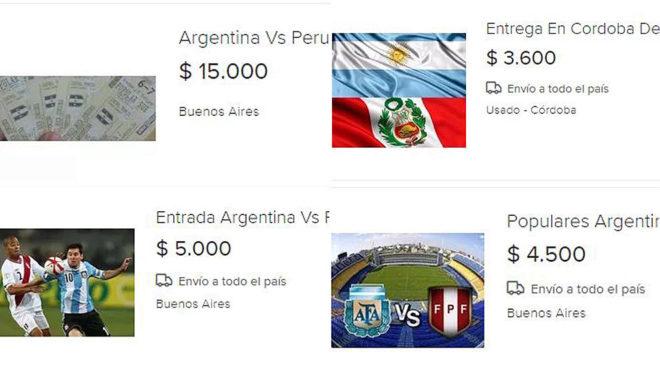 Diversas entradas del Argentina - Perú que se comercializan en la...