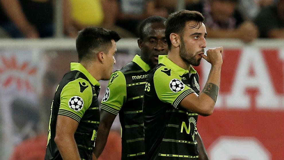 Bruno Fernandes celebra su gol a Olympiacos.