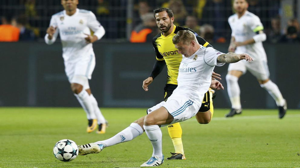 Kroos durante el partido contra el Borussia Dortmund de Champions.