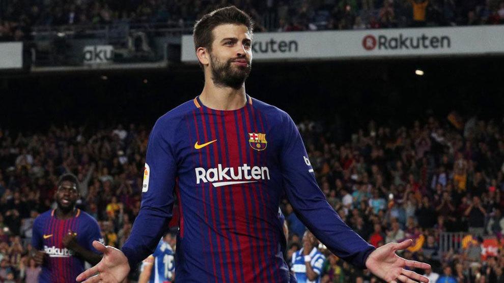 Piqué, en un partido con el Barça