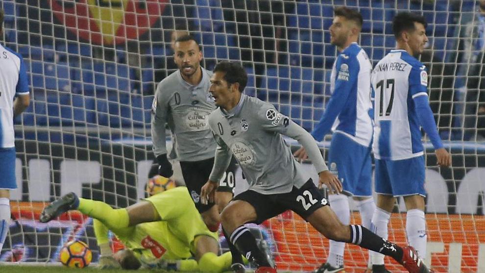 Celso Borges celebra un gol frente al Espanyol