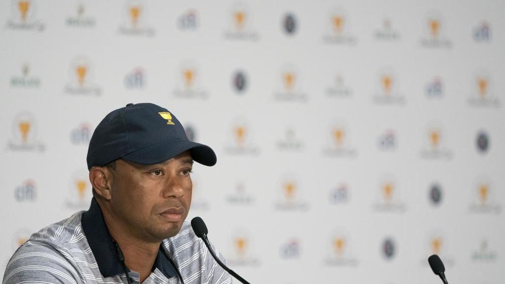 Woods (41), durante la comparecencia de prensa de la ronda de...