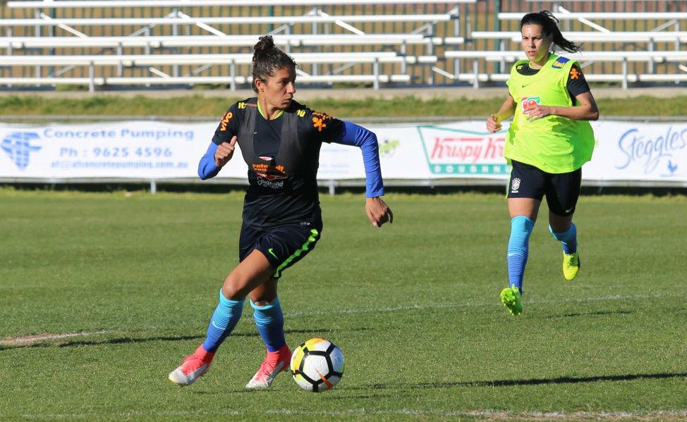 Cristiane durante un entrenamiento con la selección.
