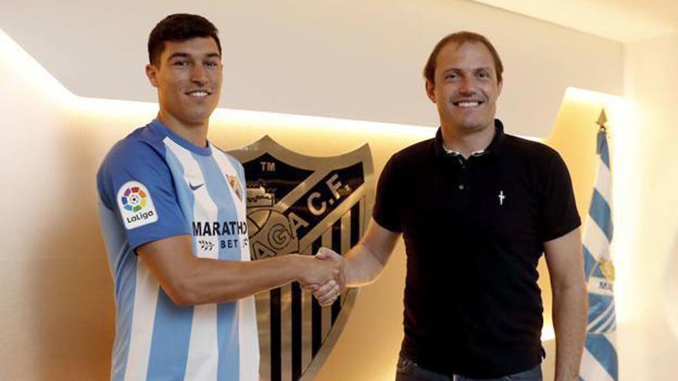 Diego González (22) cuando fue presentado como jugador del Málaga