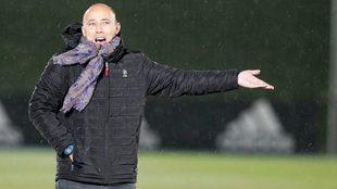 Antonio Calderón durante un partido en Valdebebas