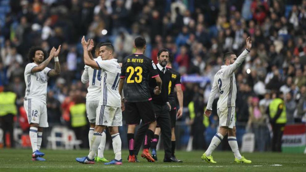 Imagen del final del partido del Espanyol en el Bernabéu el curso...