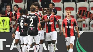 Los jugadores del Niza celebrando un gol ante el Vitesse