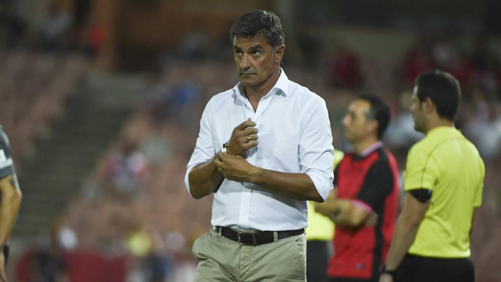 Míchel, en un partido del Málaga