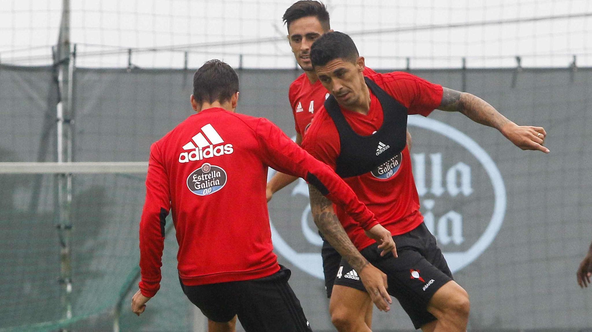 Tucu Hernández en un entrenamiento del Celta.
