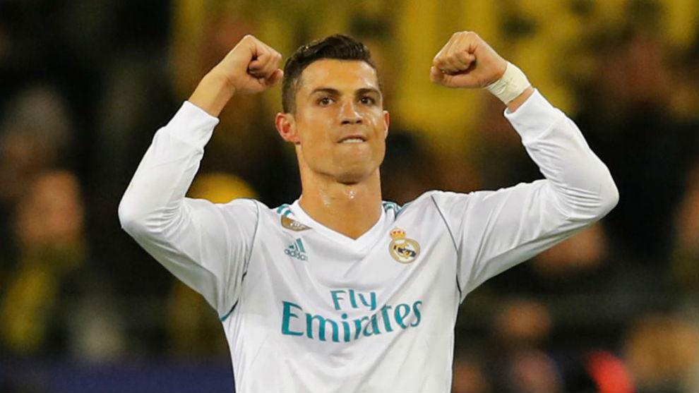 Cristiano celebra un gol en Dortmund ante el Borussia