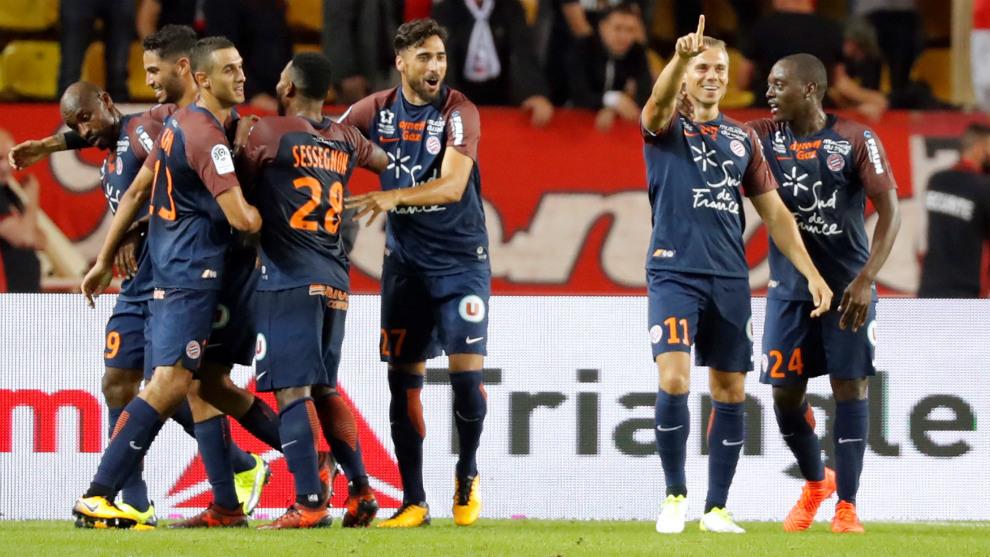 Los jugadores del Montpellier celebran el gol del empate