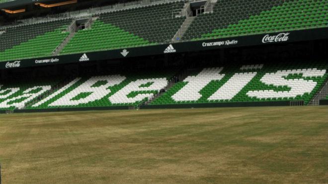 El estadio del Villamarín, en pleno proceso de resiembra del césped.