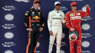 Verstappen (3º), Hamilton (1º) y Raikkonen (2º) tras la...