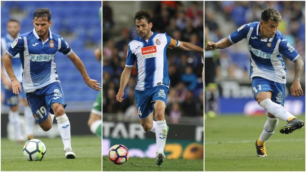 Los futbolistas del Espanyol Piatti (28), Sánchez (30) y Pérez (28)