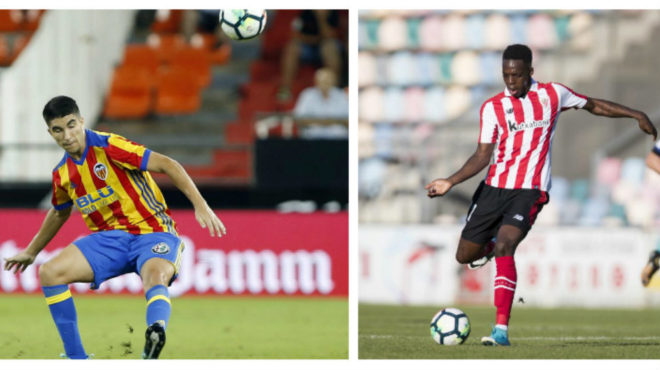 Carlos Soler, del Valencia, e Iñaki Williams, del Athletic.