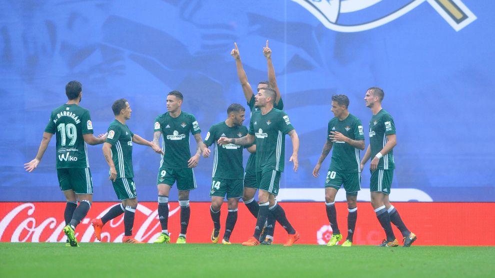 Béticos celebrando un gol