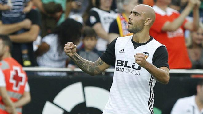 Zaza celebra el gol en Mestalla.