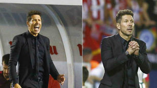 A la izquierda, Simeone en Butarque en 2016. A la derecha, el pasado...