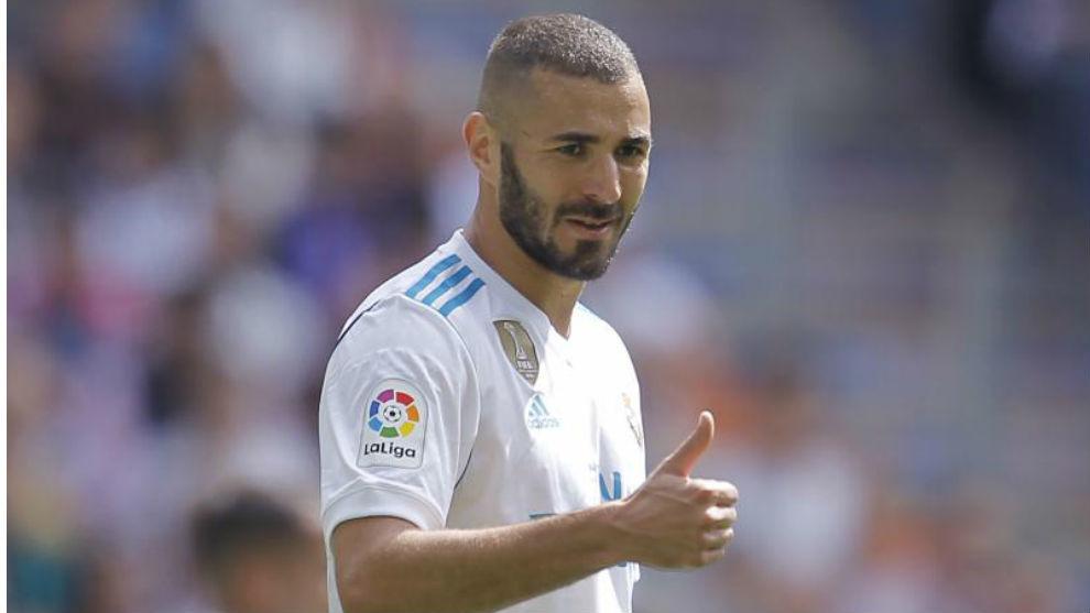 Benzema, durante su último partido con el Real Madrid, frente al...