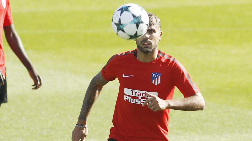 Augusto (31), durante una sesión de entrenamiento del Atleti