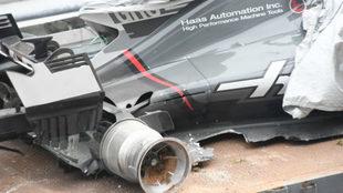El Haas destrozado de Grosjean.