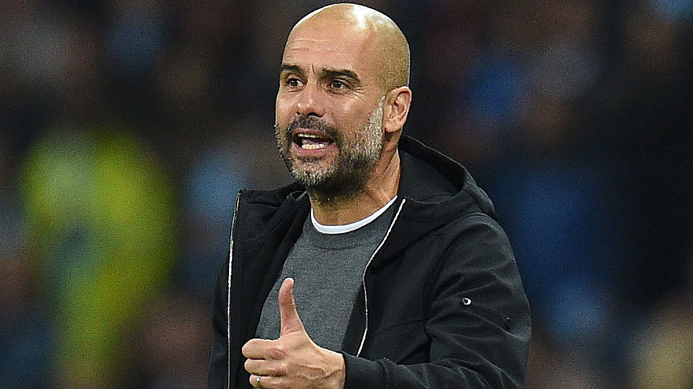 Pep Guardiola, en un partido del City