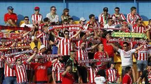 La afición del Sporting ya estuvo esta temporada presente en Santo...