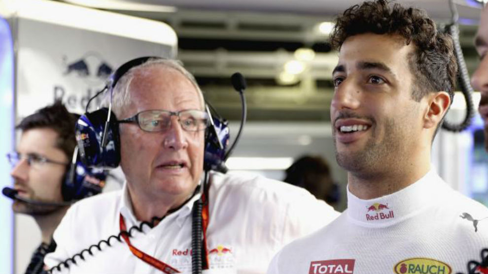 Helmut Marko y Daniel Ricciardo, en una GP de esta temporada