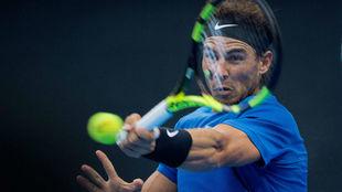 Rafael Nadal, en un momento del partido ante Khachanov.