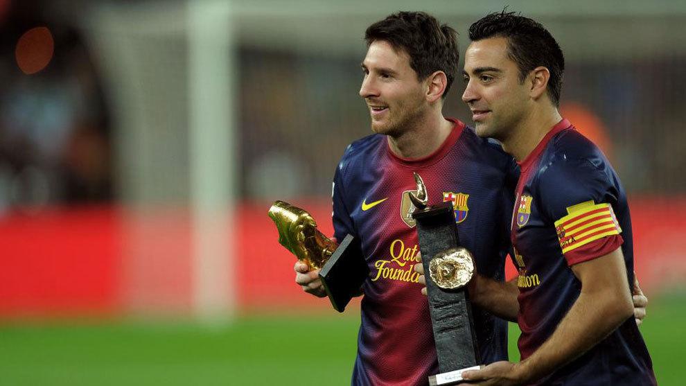 Messi y Xavi, con la camiseta del Barça