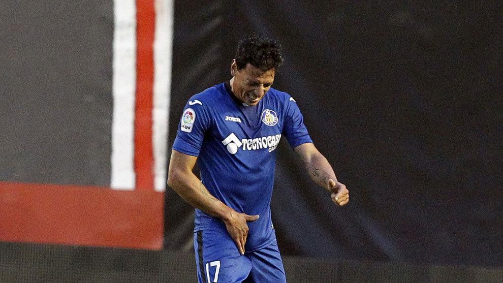 Gorosito, en un partido de la Liga1-2-3 con el Getafe