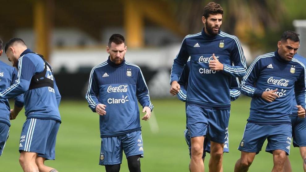 Los jugadores de la selección Argentina durante un entrenamiento