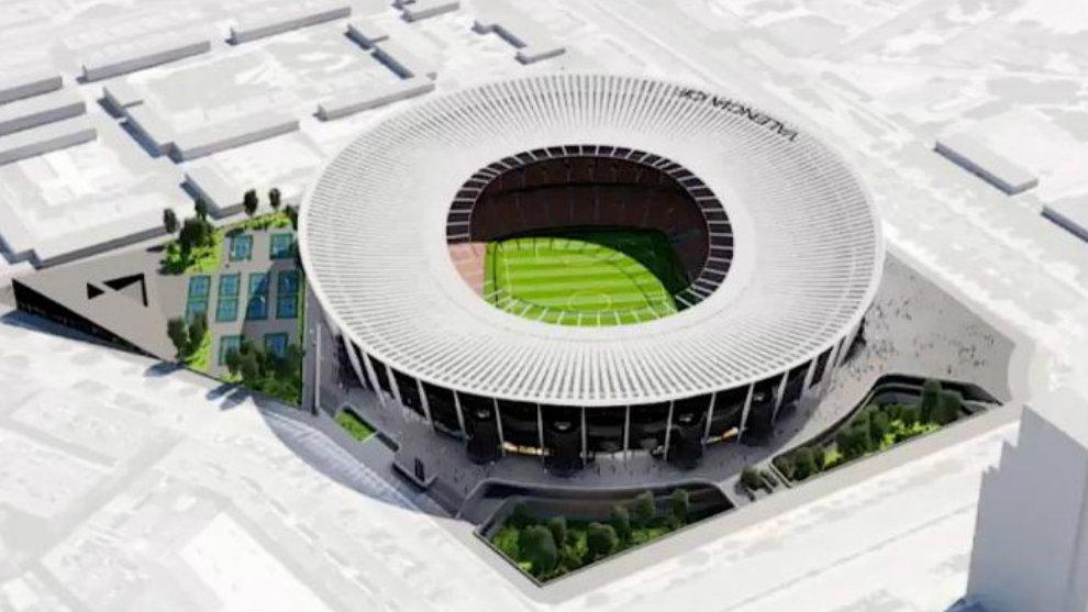 Recreación del diseño del nuevo estadio de Mestalla a vista de...