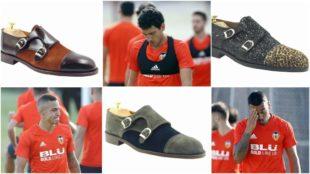 Rodrigo, Parejo y Vezo junto a modelos de zapatos de la primera...