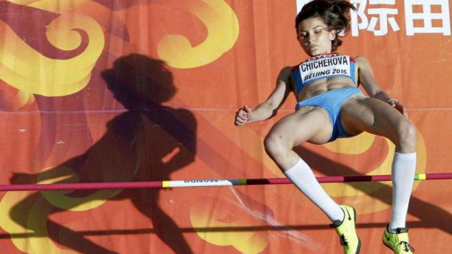 Un salto de Chicherova en el Mundial de Pekín de 2015.