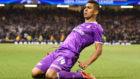 Casemiro celebra el gol que marc� en la final de la Champions de...