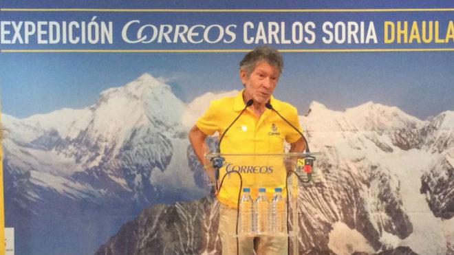 Carlos Soria, en la rueda de prensa en Correos.