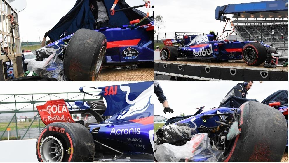 El Toro Rosso de Sainz tras el accidente este viernes