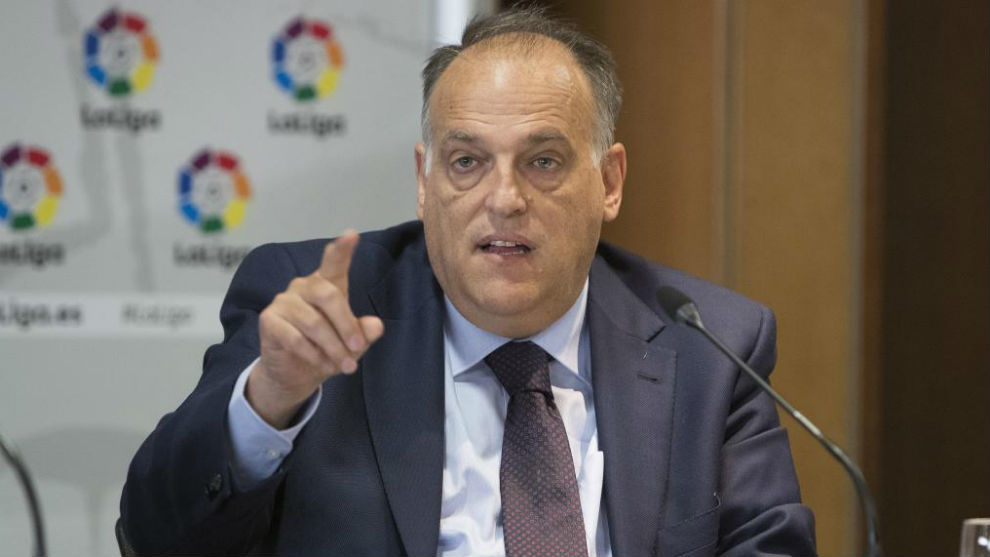 El presidente provisional de LaLiga, Javier Tebas.