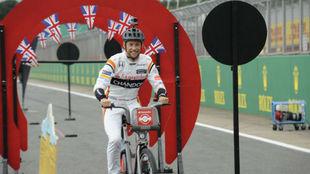 Jenson Button, en el circuito de Silverstone