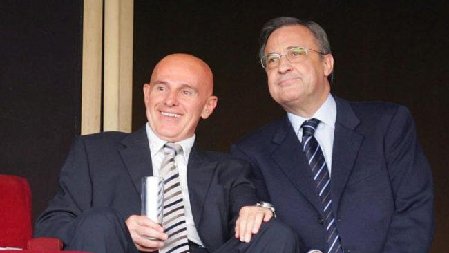 Sacchi junto a Florentino en un partido entre el Sevilla y el Madrid...