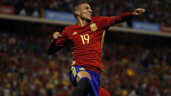 Rodrigo celebra su tanto ante Albania