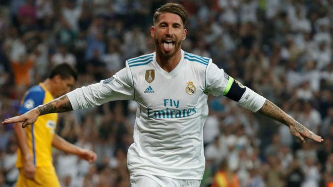 Ramos, celebrando el gol que logró ante el Apoel.