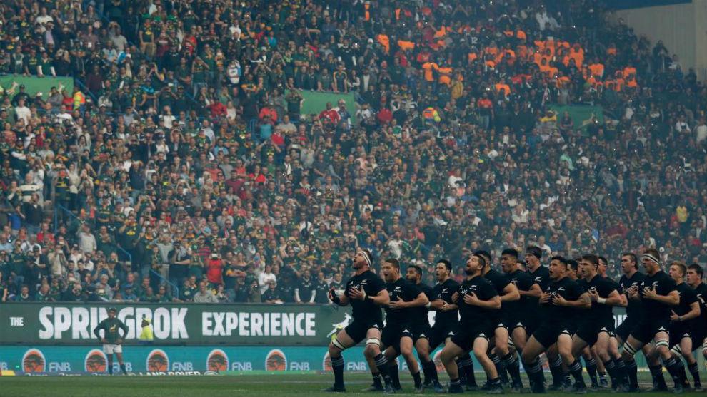 Haka de los 'All Blacks' al inicio del partido frente a Sudáfrica.