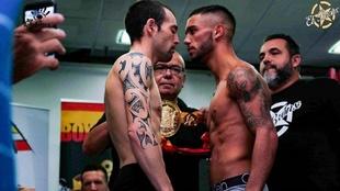 Moncho Mir�s, a la izquierda, y Aramis Torres en el pesaje