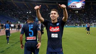 Jorginho celebra la victoria ante la Lazio.
