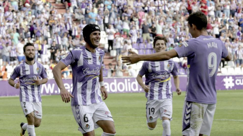 Luismi celebra su gol de la semana pasada ante el Córdoba.